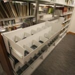 Steel-library-shelving-with-wood-end-panels