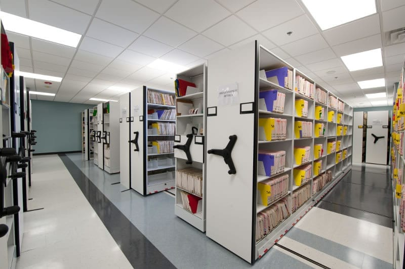 medical file storage on high density shelves