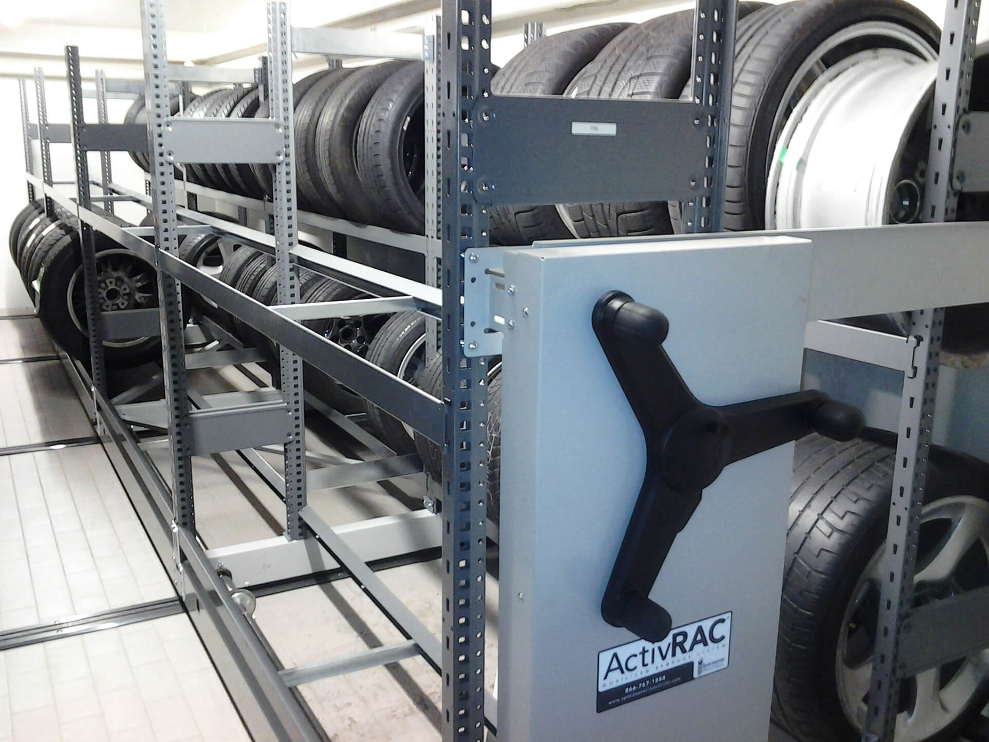 tire storage on mobile racking