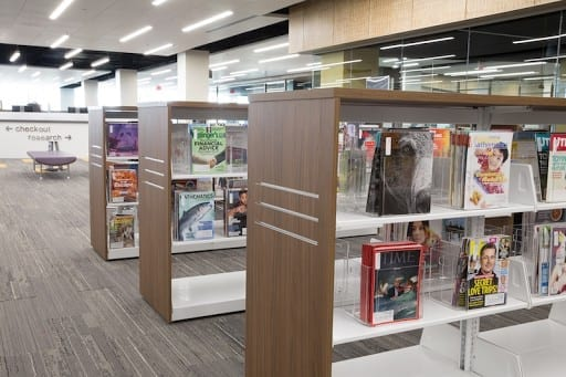 periodical shelving for harper college with concealed casters