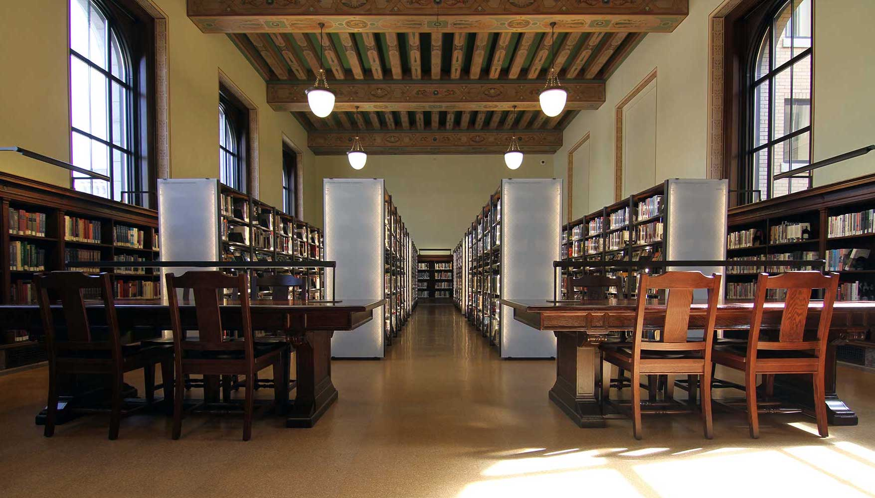 st louis library with LED shelving