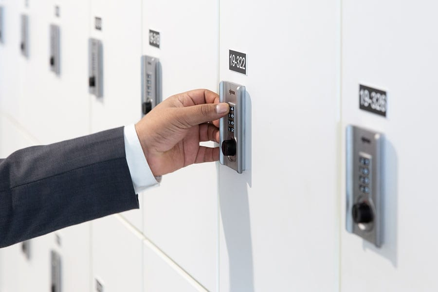 man using day locker