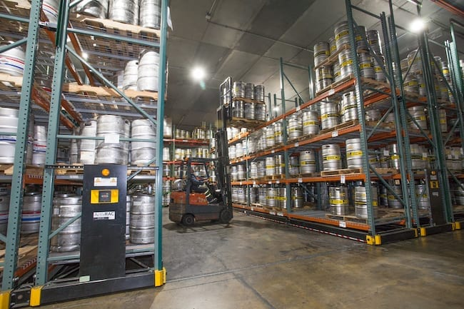 mobile pallet racking in a cooled warehouse