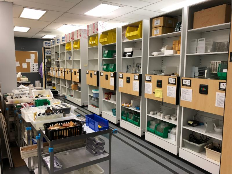 high density shelving in truman college chem lab