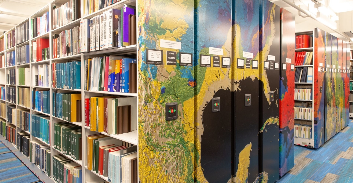 High-density shelving in map library