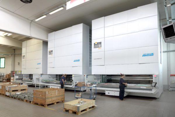 vertical lift module in manufacturing warehouse